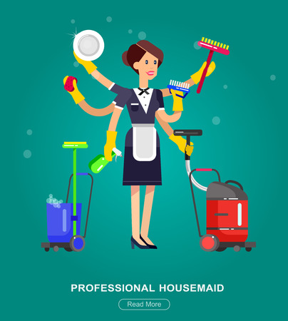 Poster design for cleaning service and supplies. Vector detailed character professional housekeeper Illustration