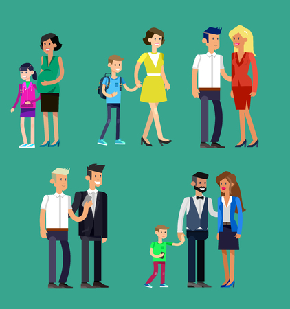 Detailed character people family, parents with kids, couple, family with children Illustration