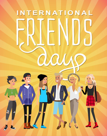 Group of happy friends with Friends day title. Cartoon hand drawn illustration Illustration