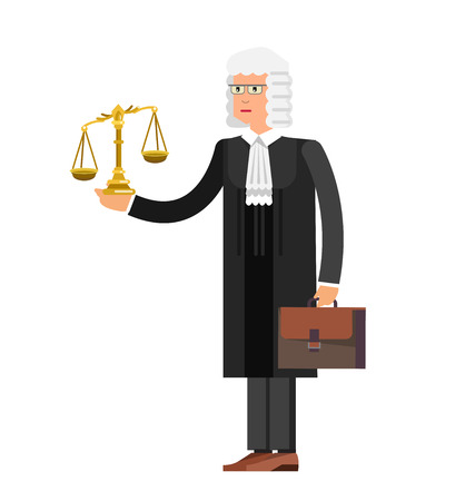 Law Vector detailed character the judge. Law cool flat illustration 向量圖像