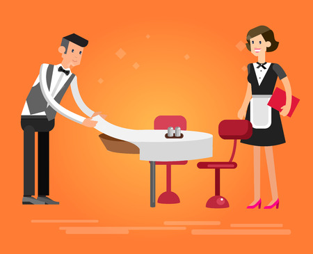 socialize: Vector detailed character people in the restaurant, service for public and personnel, waiter served tables