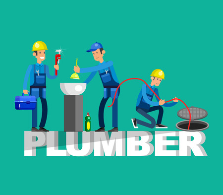 proffesional: Detailed character proffesional plumber repair, fixing water pipes. Vector set Illustration Illustration