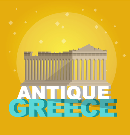 High quality, detailed most famous World landmark. Flat design of parthenon greek illustration vector. Travel vector