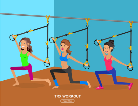 Vector detailed character Fit woman and TPX training. Happy and sporty girl illustration