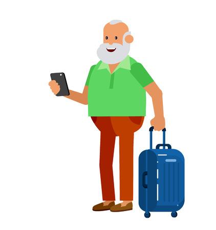 retired: vector detailed character age traveler. Old men retired tourist summer vacation. Active senior