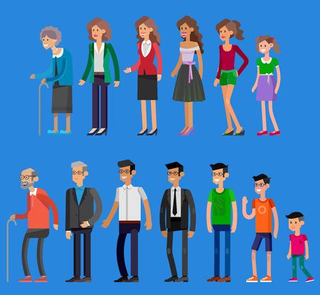 personajes detallados personas. Mujer generaciones y los hombres. Todas las categorías de edad - infancia, niñez, adolescencia, juventud, madurez, vejez. Etapas de desarrollo