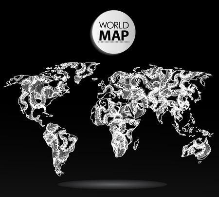 Modern elements of info graphics. Octopus World Map