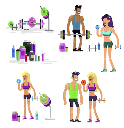Gym design concept with Vector detailed character men and women bodybuilder. Workout with fitness equipment and sports nutrition, cool flat illustration. Web banner template Banco de Imagens - 107366605