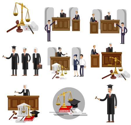 Banner orizzontale di legge impostato con elementi del sistema giudiziario e carattere dettagliato di vettore il giudice e l'avvocato, vettore isolato illustrazione piana fresca