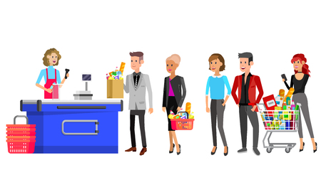 Concept banner for Shop. Vector character people in supermarket, cart, delivery, family shopping. Healthy eating and eco food Foto de archivo - 107366616