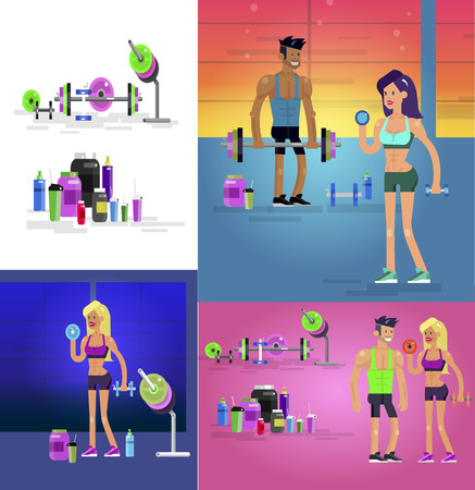Gym design concept with Vector detailed character men and women bodybuilder. Workout with fitness equipment and sports nutrition, cool flat illustration. Web banner template Banco de Imagens - 110480730