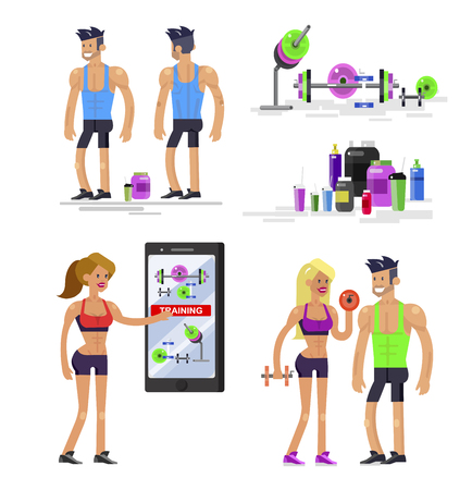 Gym design concept with Vector detailed character men and women bodybuilder. Workout with fitness equipment and sports nutrition, cool flat illustration. Web banner template Banco de Imagens - 110480731