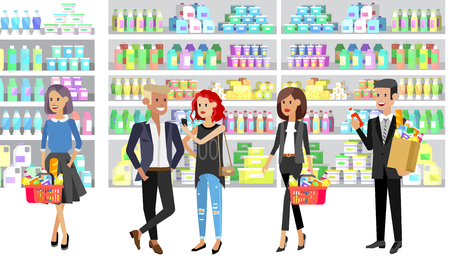 Concept banner for Shop. Vector character people in supermarket, cart, delivery, family shopping. Healthy eating and eco food Foto de archivo - 110480734