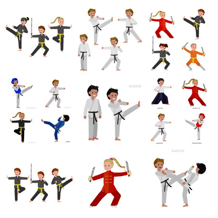 Cute vector character kid Shaolin monk. Illustration for martial art kung fu poster. Kid wearing kimono and training kung fu. Child take kung fu fighting pose Vectores