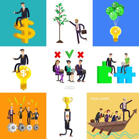 L'investisseur d'affaires de caractère détaillé de vecteur a les gains d'argent. Les revenus ont grandi comme un arbre avec des dollars. Concept Web