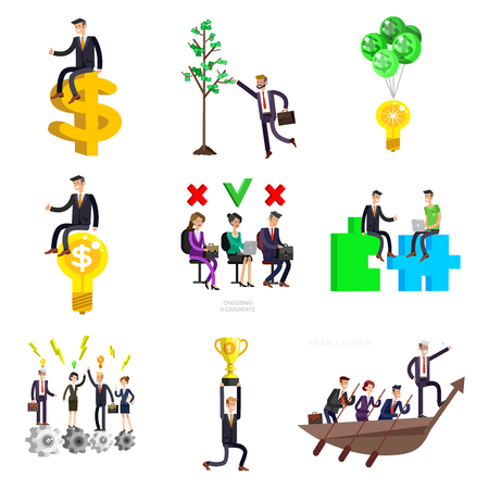 Vector detailed character business investor has the money gains. Earnings have grown as a tree with dollars. Web concept