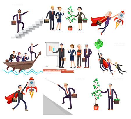 Vector detailed character business investor has the money gains. Earnings have grown as a tree with dollars. Web concept Foto de archivo - 110480744