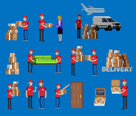 Funny Delivery character man. Vector detailed illustration Vetores