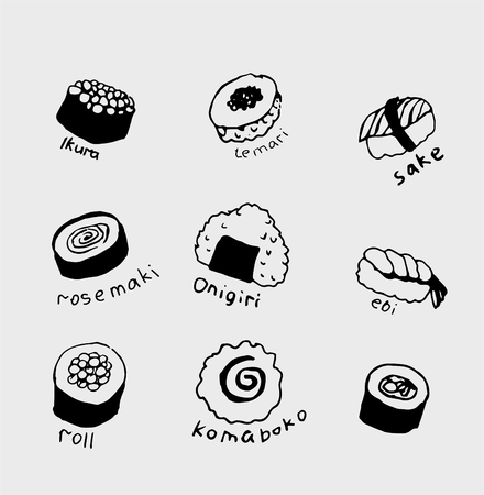 Hand-drawn collection of the different japanese food. Line art set of the food icons. Standard-Bild - 127109200