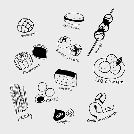 Hand-drawn collection of the different japanese food. Line art set of the food icons.