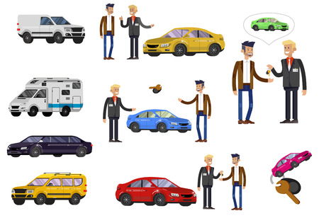 design concept of choice car and buying a car. Vector cool flat, illustration, detailed character buyer and seller  イラスト・ベクター素材