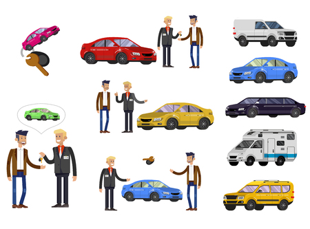 design concept of choice car and buying a car. Vector cool flat, illustration, detailed character buyer and seller Stock Illustratie