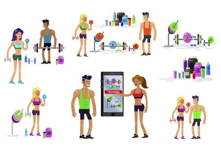 Gym design concept with Vector detailed character men and women bodybuilder. Workout with fitness equipment and sports nutrition, cool flat illustration. Web banner template Banco de Imagens - 127109201