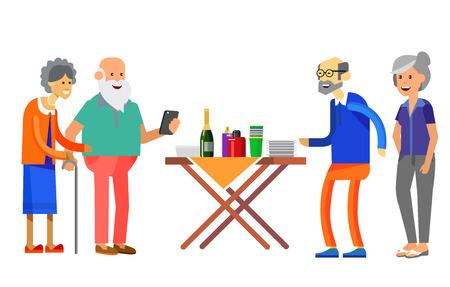 Glückliche Seniorenpaare, die Gesprächsgäste oder Party genießen. Vektorillustration im flachen Stil.