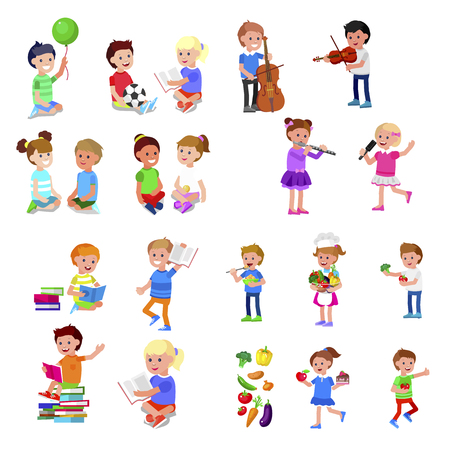 Cute vector child playing with ball, read book . Cheerful, happy kid illustration. Detailed character. Vector for Celebration children day, fun Stockfoto - 127109205