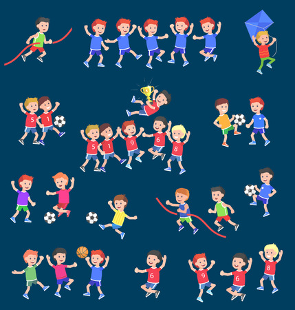 Cute vector character child playing football, basketball, with a kite, runs. Cheerful Happy boy kid illustration Stock Illustratie