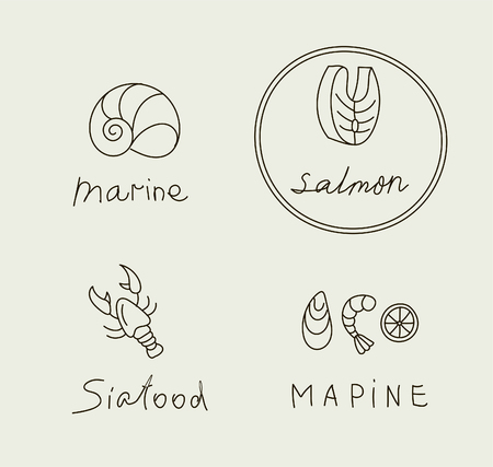 Hand drawn seafood icon - outline vector for restaurant menu. Editable stroke illustration Illustration