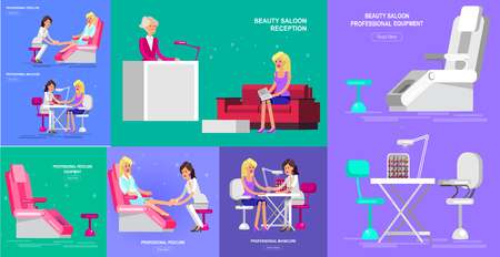 Detailed Manicurist character makes a professional manicure and pedicure beautiful blond woman. Web banner template for beauty saloon Illusztráció