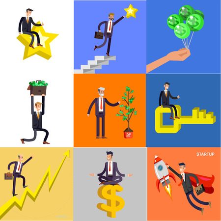 Vector detailed character business investor has the money gains. Earnings have grown as a tree with dollars. Web concept Foto de archivo - 113212881