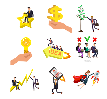 Vector detailed character business investor has the money gains. Earnings have grown as a tree with dollars. Web concept Foto de archivo - 113212948