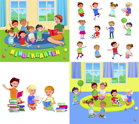Cute vector child playing with ball, read book . Cheerful, happy kid illustration. Detailed character. Vector for Celebration children day, fun Stockfoto - 113213126