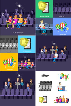 Cinema movie poster or banner template, popcorn, 3D glasses, concept banner, hall. Rest with family. Cute vector character people Stock Illustratie