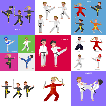 Cute vector character kid Shaolin monk. Illustration for martial art kung fu poster. Kid wearing kimono and training kung fu. Child take kung fu fighting pose 일러스트