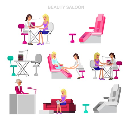 Detailed Manicurist character makes a professional manicure and pedicure beautiful blond woman. Web banner template for beauty saloon Stock Photo