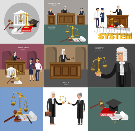Law horizontal banner set with judical system elements and Vector detailed character the judge and the lawyer, cool flat illustration isolated vector 版權商用圖片