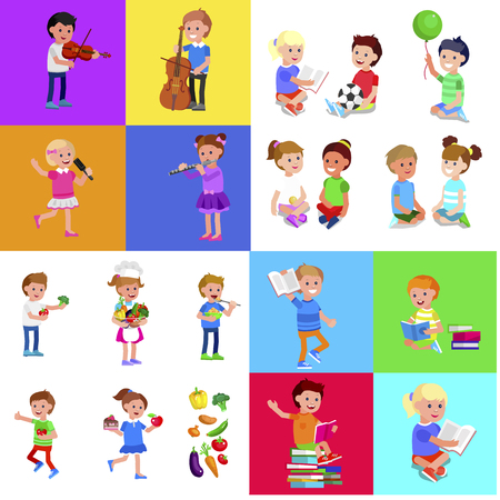 Cute vector child playing with ball, read book . Cheerful, happy kid illustration. Detailed character. Vector for Celebration children day, fun
