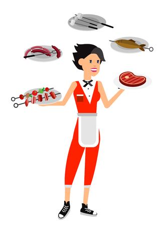 Vector character girl on picnic or Bbq party. Chef cooking steaks on grill. Banque d'images - 113853573