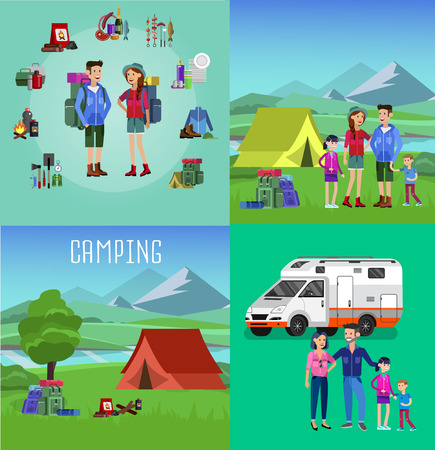 Men and woman character camping tourists. Camping Weekend icons. Hiking and camping object. Vector camping flat illustration Banco de Imagens