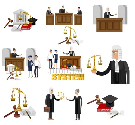Law horizontal banner set with judical system elements and Vector detailed character the judge and the lawyer, cool flat illustration isolated vector Stock Photo
