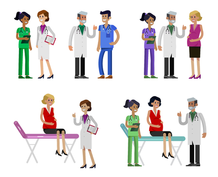 Vector detailed doctor character man, woman and nurse. Medical team Stok Fotoğraf