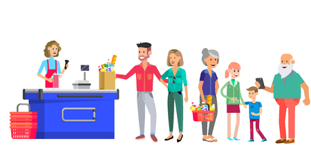 Concept banner for Shop. Vector character people in supermarket, cart, delivery, family shopping. Healthy eating and eco food Foto de archivo - 113853702