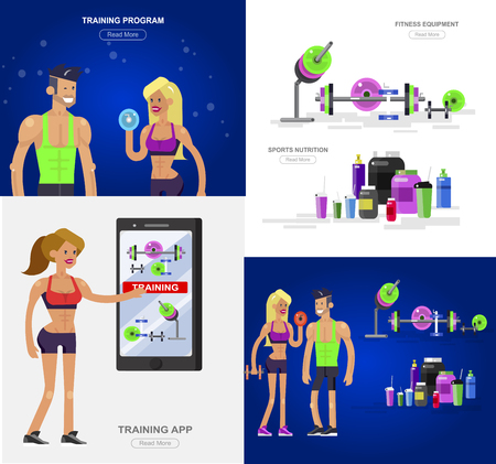Gym design concept with Vector detailed character men and women bodybuilder. Workout with fitness equipment and sports nutrition, cool flat illustration. Web banner template