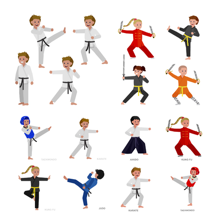 Cute vector character kid Shaolin monk. Illustration for martial art kung fu poster. Kid wearing kimono and training kung fu. Child take kung fu fighting pose 版權商用圖片