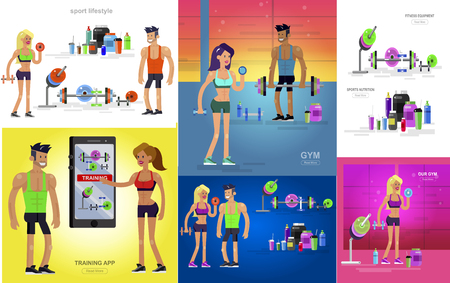 Gym design concept with Vector detailed character men and women bodybuilder. Workout with fitness equipment and sports nutrition, cool flat illustration. Web banner template Banco de Imagens - 113853707