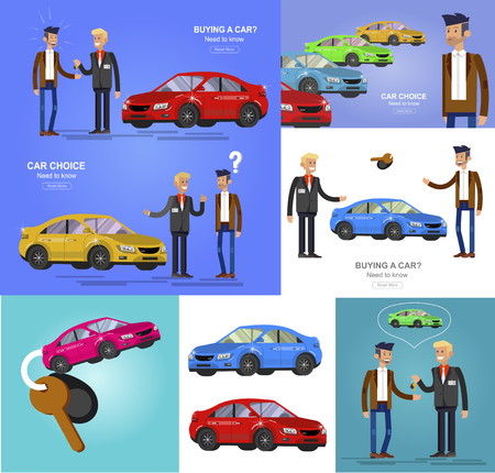 design concept of choice car and buying a car. Vector cool flat, illustration, detailed character buyer and seller Stockfoto
