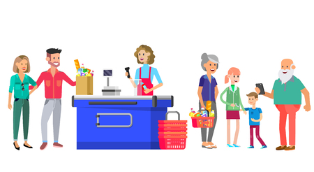 Concept banner for Shop. Vector character people in supermarket, cart, delivery, family shopping. Healthy eating and eco food Foto de archivo - 113853716